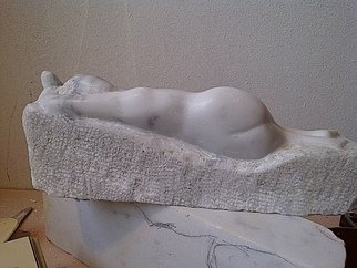 Marcin Biesek: 'Reclining woman', 2011 Stone Sculpture, nudes.     Marble sculpture- this is one of me the harder artworks I ever done. I tried discover Rodin and also More art. The Modernism , and all we recive is like a gold in our hands to keep, and develop in our art.   ...