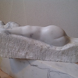 Marcin Biesek: 'Reclining woman', 2011 Stone Sculpture, nudes. Artist Description:     Marble sculpture- this is one of me the harder artworks I ever done. I tried discover Rodin and also More art. The Modernism , and all we recive is like a gold in our hands to keep, and develop in our art.   ...