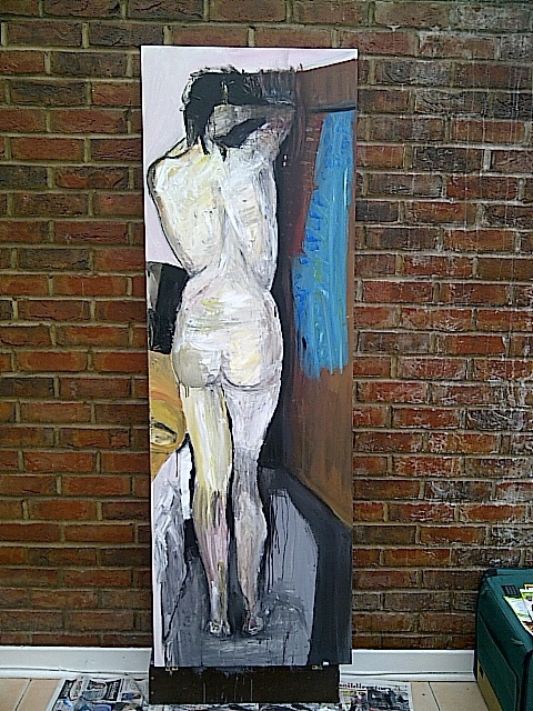 Marcin Biesek  'Woman Changeing Clothes', created in 2011, Original Painting Acrylic.