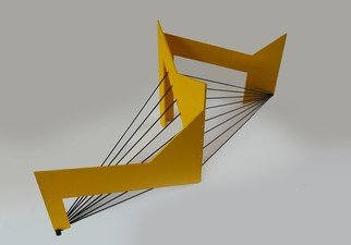 Marcio Faria: 'gabo horizontal amarela', 2014 Steel Sculpture, undecided. Artist Description:  painted steel and silicone wire ...