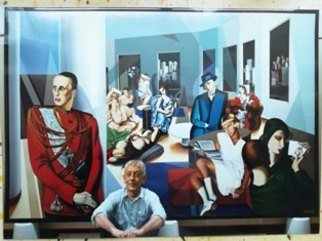 Marco Ambrosini: 'insieme di tamara de lempicka', 2019 Oil Painting, Figurative. Artist Description: CONCEPT: to include characters from any famous painter into a stylistically adequate setting  even a reproduction of the room in which the painting will be displayed . ...