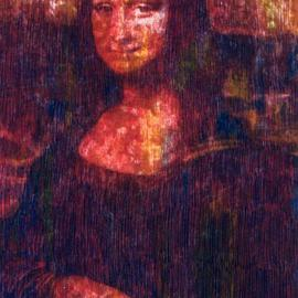 Marco Mark Artwork Mona  Lisa  after Leonardo   print numbered  35, 2005 Collage, Portrait