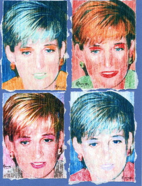 Marco Mark  'PRINCESS DIANA COLLAGE PAINTING FEATURED IN DIANA IN ART BOOK BY MEM MEHMET', created in 2007, Original Collage.