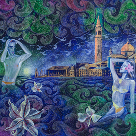 Setyo Mardiyantoro Artwork bathing in Venice, 2016 Acrylic Painting, Inspirational