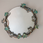 steel copper round vine mirror By Stephen Maresco