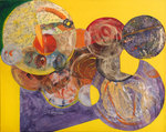 Collage by Margaret Thompson titled: Globes, created in 2007