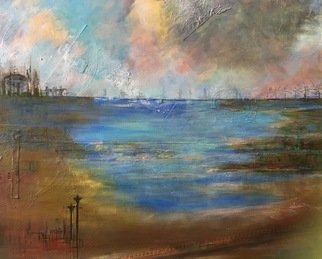 Margaret Thompson Artwork Lakeside 4, 2017 Mixed Media, Abstract Landscape