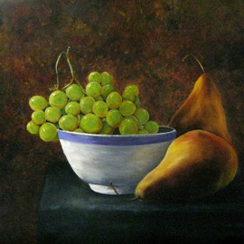 Margaret Lyons: 'Bowl of Grapes', 2011 Oil Painting, Still Life.