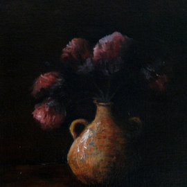 Margaret Lyons: 'Pinks in Shadow', 2013 Oil Painting, Still Life. Artist Description:  oil painting of flowers in shadow ...
