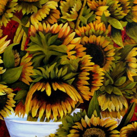 Margaret Lyons Artwork Sunflowers, 2009 Oil Painting, Floral
