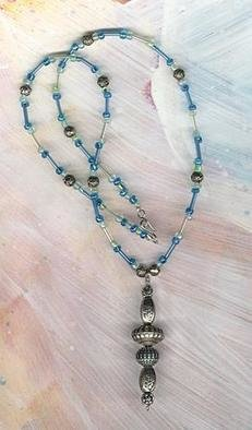 Margaret Stone: 'Bali With Blue Beads', 2004 Jewelry, Fashion. Six Bali beads make up a three inch Y that is strung on narrow blue glass and metalized rose beads.  The necklace is 22 inches around....