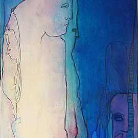 Margaret Stone: 'Family Secrets', 1901 Acrylic Painting, Abstract Figurative. Artist Description:  Content can be related to personally.  Painting is acrylic and ink on panel.  Strip framed with wood. ...