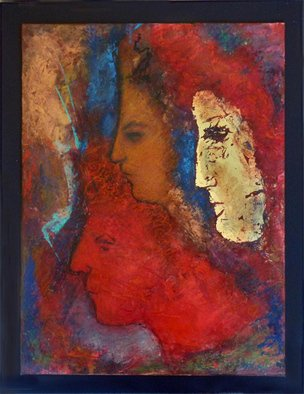 Margaret Stone Artwork Kokopelli And The Mask of Gold, 2014 Encaustic Painting, Abstract Figurative