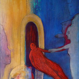 Margaret Stone: 'The Traveler', 2013 Acrylic Painting, Abstract Figurative. Artist Description:  The travelor returns, filled with stories waiting to be told. Stories of mystery and magic. Painting is acrylic on canvas and is gallery wrapped. ...