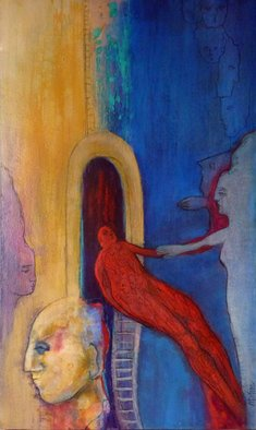 Margaret Stone: 'The Traveler', 2016 Acrylic Painting, Abstract Figurative.  The travelor returns, filled with stories waiting to be told.  Stories of mystery and magic.  Painting is acrylic on canvas and is gallery wrapped. ...