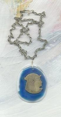 Margaret Stone: 'Woman for Women', 2004 , Fashion. The bronze amulet is mounted on fused glass.  The handmade chain is 24 inches around and the findings are 14k GF....