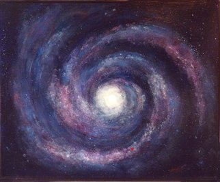 Margaret Stone: 'You Are Here', 2014 Acrylic Painting, Astronomy. Artist Description:  There we are, a tiny dot in the swirl of our Milky Way Galaxy. And here am I, a dot within that dot. ...