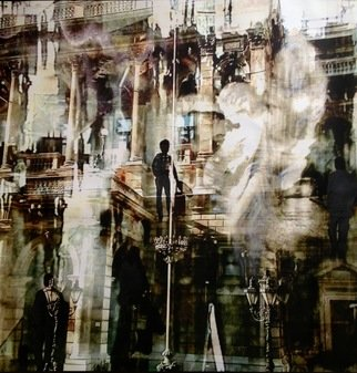 Maria Eugenia Akel: 'TRAVELERS IV', 2012 Mixed Media, Surrealism.                  It is a mix Photo- painting, using my own self taken photos and my paintings, all worked in digital , and then over canvac.                 ...