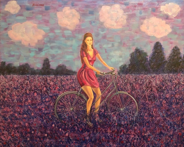 Marina Voronkova  'Girl In A Lavender Field', created in 2017, Original Painting Oil.
