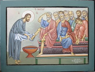 Maria Chatzivasileiou: 'Jesus Christ and Apostles   ', 2008 Tempera Painting, Religious. Artist Description:  The washing of the feet- Jesus Christ and Apostles ( Disciples) .Hand painted Hagiography wooden icon. ...