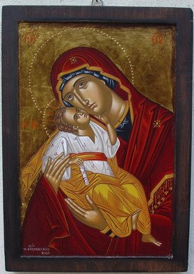 Maria Chatzivasileiou: 'Virgin Mary and Christ', 2006 Tempera Painting, Religious. Artist Description:  Hand made religious byzantine icon, egg tempera on wood, painting according to orthodox tradition, backround 22kt gold leaf antique style. ...