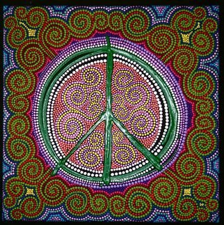 Marie Stewart: 'Peace Sign', 2009 Acrylic Painting, Peace.    Original art work in acrylic, with a contemporary use of paint and pointillism, inspired by aborigines, incorporating modern day symbolism of the peace symbol.   ...