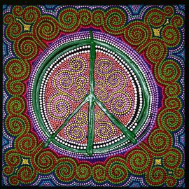 Marie Stewart: 'Peace Sign', 2009 Acrylic Painting, Peace. Artist Description:    Original art work in acrylic, with a contemporary use of paint and pointillism, inspired by aborigines, incorporating modern day symbolism of the peace symbol.   ...