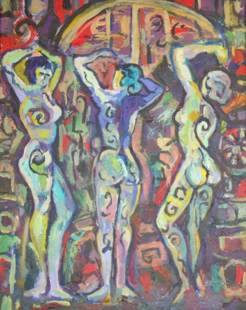 Carolyn Alston Thomas  'Three Women Number Five', created in 2010, Original Painting Acrylic.
