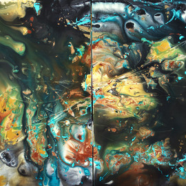 C. Mari Pack: 'Tierra Misteriosa', 2013 Acrylic Painting, Abstract. Artist Description:      Original poured diptych acrylic painting. Deep tones, with contrasting black, white, turquoise and gold. All materials used are archival.     ...