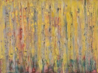 Marino Chanlatte Artwork Abstract Aspen Trees, 2016 Oil Painting, Abstract Landscape