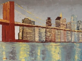 Marino Chanlatte: 'Brooklyn Bridge Lights', 2016 Oil Painting, Urban. Artist Description:  This painting depicts the lights of the emblematic and iconic Brooklyn Bridge and its background. This is an abstract view of this New York landmark, painted with thick oil texture. Thank you. Edges of the canvas are painted in black, 1. 5 depth, ready to hang. ...