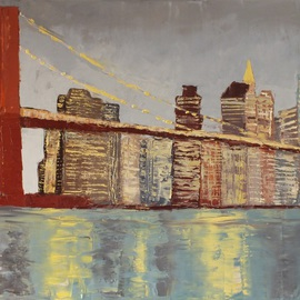 Marino Chanlatte Artwork Brooklyn Bridge Lights, 2016 Oil Painting, Urban