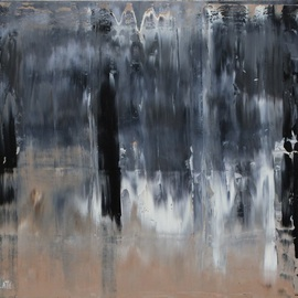 Marino Chanlatte: 'Enigmas', 2016 Oil Painting, Abstract. Artist Description:  This painting continue the series of Oceans but incorporate some figures and silhouettes reflections making more complex the composition and the feelings behind the painting. Thank you. Edges of the canvas are painted in black, 1. 5 depth, ready to hang.Abstract, expressionism, black, neutral, contemporary, abstract art, ...