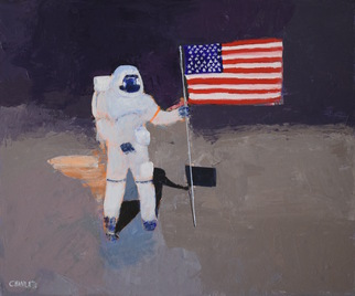 Marino Chanlatte Artwork Flag on the Moon, 2016 Acrylic Painting, Space