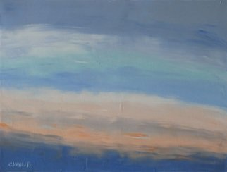 Marino Chanlatte Artwork Summer Sunset, 2016 Oil Painting, Abstract Landscape