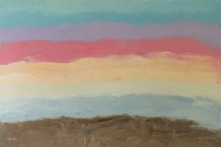 Marino Chanlatte Artwork Sunset Colors, 2015 Oil Painting, Abstract Landscape