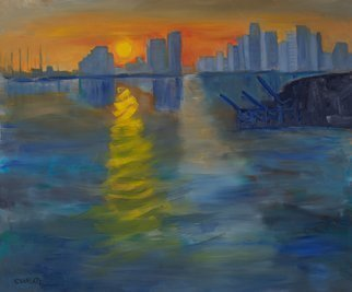Marino Chanlatte: 'miami sunset expression', 2018 Oil Painting, Seascape. This work, inspired on the Miami Bay and Port, was executed in the Monet impressionist style, following his treatment of the seascape Impression, Sunrise at the port of Le Havre. This is not a realistic or photographic scene, but a spontaneous work. I had a lot of fun painting this ...