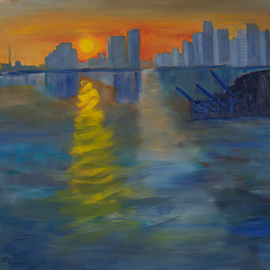 Marino Chanlatte: 'miami sunset expression', 2018 Oil Painting, Seascape. Artist Description: This work, inspired on the Miami Bay and Port, was executed in the Monet impressionist style, following his treatment of the seascape Impression, Sunrise at the port of Le Havre. This is not a realistic or photographic scene, but a spontaneous work. I had a lot of fun ...