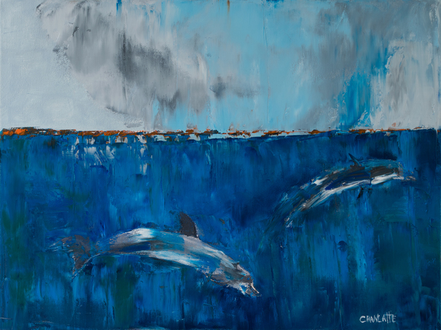 Marino Chanlatte  'Ocean With Dolphins', created in 2017, Original Pastel Oil.
