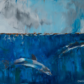 Marino Chanlatte - ocean with dolphins, Original Painting Oil
