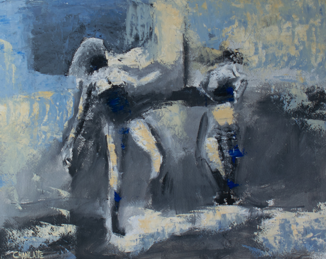 Marino Chanlatte  'Two Figures', created in 2019, Original Pastel Oil.