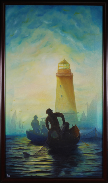 Artist Raju Dyapur. 'Early Morning Fishing' Artwork Image, Created in 2016, Original Painting Oil. #art #artist