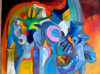 Mario Ortiz Martinez Artwork CAVE OF FANTASIES, 2008 Oil Painting, Abstract Figurative