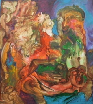 Mario Ortiz Martinez Artwork CAVE OF LOVERS, 2009 Acrylic Painting, Abstract Figurative