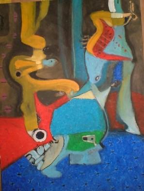 Mario Ortiz Martinez Artwork CIRCUS M STANCES, 2008 Oil Pastel, Abstract Figurative