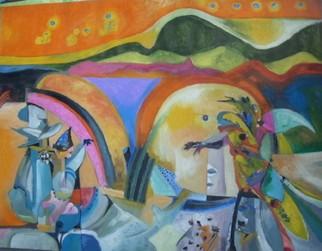 Mario Ortiz Martinez Artwork CROSSING THE BRIDGE, 2008 Oil Painting, Abstract Figurative