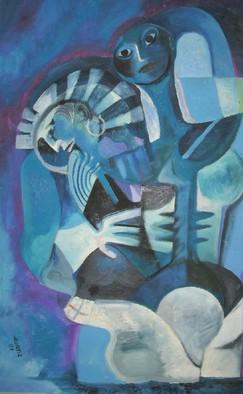 Mario Ortiz Martinez Artwork DESIRE IN BLUE, 2008 Oil Painting, Abstract Figurative
