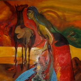 Mario Ortiz Martinez Artwork INDIAN PRIDE, 2013 Oil Painting, Abstract Figurative