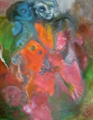Mario Ortiz Martinez Artwork LOVE IS A WILD COLORED THING, 2008 Oil Painting, Abstract Figurative