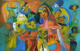 Mario Ortiz Martinez Artwork MOTHER AND CHILDREN, 2009 Acrylic Painting, Abstract Figurative